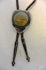 OLD signed FRANK PATANIA Sheild Shaped BOLO TIE Sterling Silver with Fancy Tips!