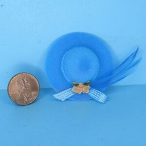 Dollhouse Miniature Lady's Blue Hat with Roses and Feather IM65181