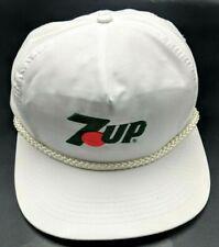 7UP 1980s vintage white adjustable snapback cap / hat - wide flat brim