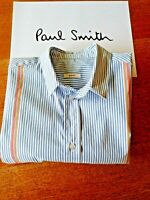 Paul Smith Shirt, 100% Cotton, Long Sleeves, Slim Fit, Contrasting Trim, Size 14