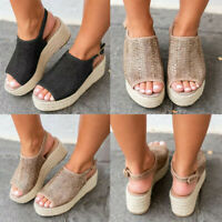 WOMENS HIGH WEDGE PLATFORM ESPADRILLES SUMMER SANDALS SLINGBACK PEEP TOE SHOES