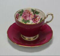 VTG Paragon Fine Bone China Pink Floral Gold Trim Tea Cup w/ Saucer England EUC