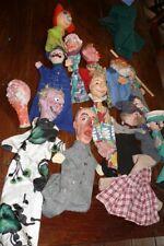 S70 Konvolut 13 Puppen für Kasperle - Theater Pappmaché-Kunststoff-Textil  1950/