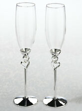 Silver Heart Toasting Glasses Wedding Toast Flutes Heart Theme Wedding