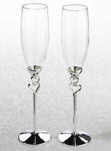 Silver heart toasting glasses wedding toast flutes heart theme wedding