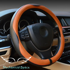 """15"""" Genuine Leather Steering Wheel Cover Wrap Protection for BMW Car Truck SUV"""
