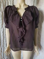 Diane Von Furstenberg Figue brown cotton top blouse size 8 USA