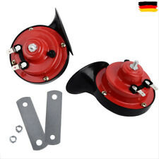 2 Stück Universal Klang Fanfare Schnecke Horn Hupe 12V für Auto PKW 120dB Rot
