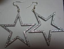 NORA WINN UNIQUE EARRINGS Silver GLITTER STAR 925 Dallas Cowboys 4th of July