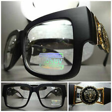 VINTAGE HIP HOP RAPPER PARTY CLUB RAVE Clear Lens EYE GLASSES Matte Black & Gold