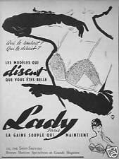 PUBLICITÉ 1954 LADY CE JOLI MODÈLE DOUBLE-JEU LA GAINE SOUPLE QUI MAINTIENT