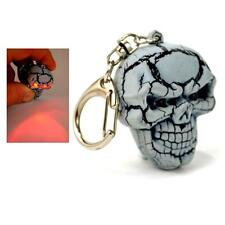 LED EVIL SKULL KEYCHAIN w Light & Spooky Sound Halloween Toy Gift Key Chain Ring