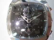 SEIKO PREMIER MEN'S WATCH ALARM CHRONO ALL STAINLESS S.ORIGINAL JAPAN SNA143 NEW