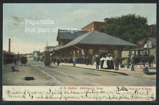 CT Willimantic LITHOGRAPH 1906 CERR DEPOT Train Station Langsdorf S-229