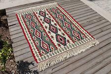 Turkish Kilim Rug 45''x53'&# 039; Handwoven Van Kilim 115x135cm Wool Vintage Area Rug