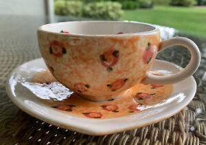 Alexander Ceramics Mary Engelbreit (?) Wales UK Heart Shaped Cup & Saucer Set