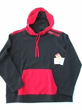 Reebok men's long sleeve hoodie sweater black red NWT black sz L MSRP $65