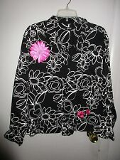 Woman's XXL embroidered button down Jacket  Krazy Kat~black/white/pink floral