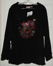 Quacker Factory Black Womens Size L Large Top With Studded Western Girl Girl NEW
