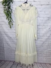 Vintage Prairie Dress 1970's Boho Long Sleeves Lace  Unbranded