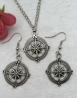 Compass Rose Necklace and Earrings Set Geocacher Travel Pirate Sailor Jewelry