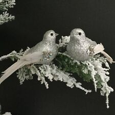 2x Silver Glitter Clip On Bird Christmas Tree Decorations Vintage Retro Feather