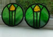 More details for two liberty and co stained glass tulip designed roundels. circa 1900
