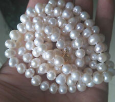 """Beautiful! Long 50"""" 7-8mm Genuine Natural White Akoya Cultured Pearl Necklace"""