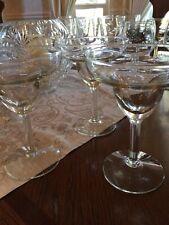 New listing Vintage Clear Margarita Glasses Pebbled Stem - Lot of 3