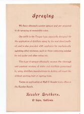 1890s Advertising Flier for the Kessler Bros Sprayer El Cajon CA