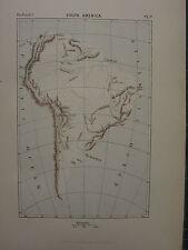 1886 Antique Map ~ South America Rio De La Plata Parana Andes Amazons