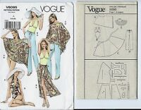Vogue 8095 sewing pattern PONCHO Bathing Suit SKIRT Pants HAT sew sizes 6-8-10