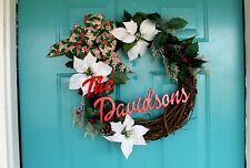 Winter Wreath, Christmas Wreath, Grapevine Wreath, Personalized, Handmade