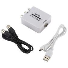 Mini AV RCA To RF Converter TV Video Plug Modulator Amplifier USB Cable Signal #