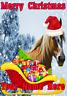 Horse Santa Sleigh nnc229 Christmas Xmas Card A5 Personalised Greetings Cards