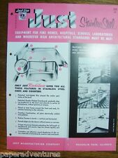 1958 JUST Stainless Steel SINKS CABINETS Lavatory Autopsy Tables Vintage Catalog
