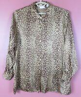 TB08995- ELISABELTH By LIZ CLAIBORNE Women's Silk Long Sleeve Blouse Animal 16