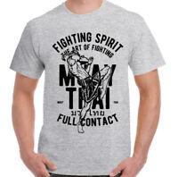 Muay Thai T-Shirt Mens Martial Arts MMA Kick Boxing Training Top Full Contact