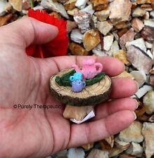 TEAPOT TABLE GARDEN FURNITURE ~ Fairy Figurines Plants Doll House Miniature
