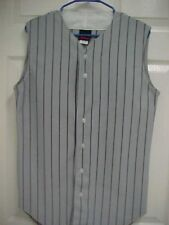 Wilson Gray Striped Sleeveless Adult Button Front Baseball Jersey Shirt S New