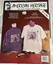 New listing Fabric Applique Western White Wolf Iron-On American Heritage Native American