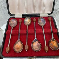 Set of 6 Viners of Sheffield Coffee Spoons Silver Plated W/ Coffee Bean in Box