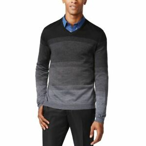 CALVIN KLEIN NEW Men's Ombre Striped Wool Blend V-Neck Sweater XXL TEDO