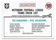 1976 Scanlens Checklist North Melbourne Kangaroos ::