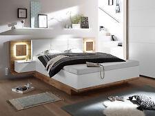 CAMERON Bettanlage Bett Doppelbett 180x200 Dekor Eiche Weiß inkl Sitztruhe Licht