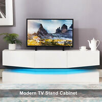 Floating Wall Mount LED TV Stand Unit Cabinet w/ 3 Drawers White Living Room