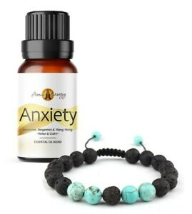 ANXIETY Essential Oil & Diffuser BRACELET Set (Turquoise) Lava Stone