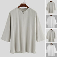 Mens Short Sleeve Cotton Linen Baggy Shirts Casual Loose Beach Yoga Blouse Tops