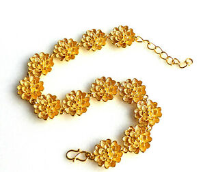 Women 24K Yellow Gold Plated Adjustable 18cm 21cm Flower Bracelet S Hook UK