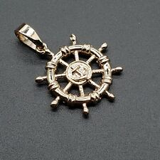 Solid Gold 14 kt Ship Wheel Pendant, 1 inch USA Seller
